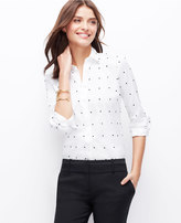 Ann Taylor Petite Embroidered Dot Perfect Shirt