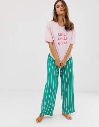 Asos Design DESIGN girls girls girls pyjama wide leg set