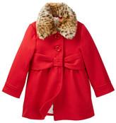 Kate Spade Faux Fur Collar Coat (Toddler & Little Girls)