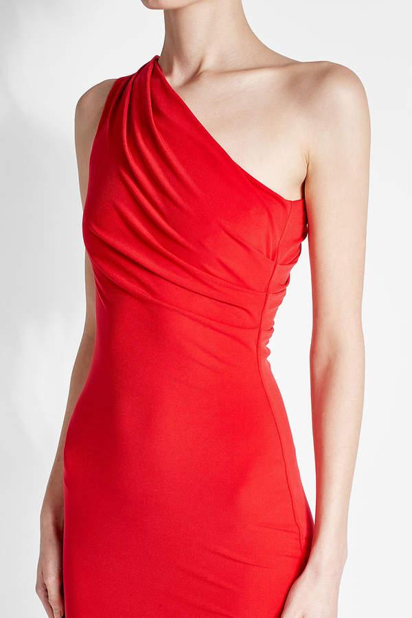 Velvet Asymmetric Jersey Dress