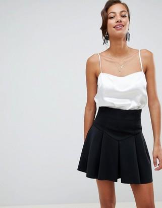 ASOS DESIGN seamed skater mini skirt with box pleats