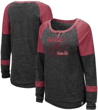 Colosseum Women's Heathered Black Alabama Crimson Tide Miranda Henley Raglan Long Sleeve T-Shirt