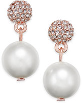 Charter Club Rose Gold-Tone Imitation Pearl Fireball Drop Earrings, Only at Macy's