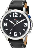 Tommy Hilfiger Men's 'TH 24/7' Quartz Stainless Steel and Leather Casual Watch, Color:Black (Model: 1791298)