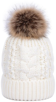 Youngsoul Women's Cable Knit Beanie Winter Fleece Lined Bobble Hats with Detachable Faux Fur Pom Pom Navy