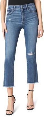 Joe's Jeans The Callie Distressed High Waist Fray Hem Crop Flare Jeans
