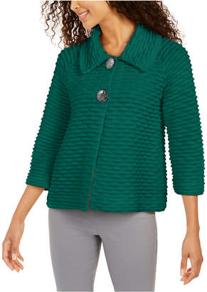 JM Collection Petite Two-Button Textured Topper