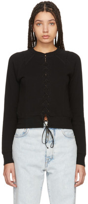 Unravel Black Lace-Up Sweatshirt