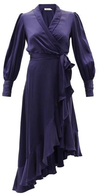 Zimmermann Bishop-sleeve Silk Wrap Midi Dress - Dark Blue