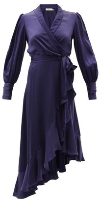 Zimmermann Bishop-sleeve Silk Wrap Midi Dress - Dark Blue