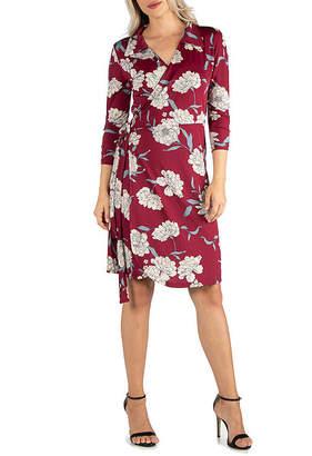 24/7 Comfort Apparel Burgundy Floral Dress