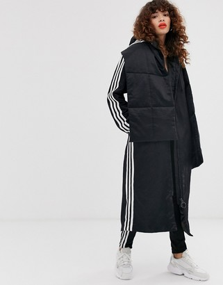 adidas padded scarf jacket in black