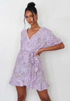 Missguided Petite Lilac Floral Ruffle Wrap Tea Dress