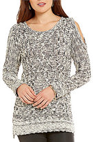 Chelsea & Theodore Cold-Shoulder Chunky Cable Knit Sweater