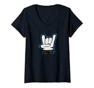N. Womens ROCK ROLL HAND SYMBOL - V-Neck T-Shirt