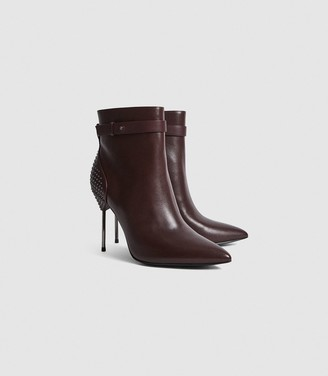 Reiss Ledbury - Studded Pin-heel Ankle Boots in Plum