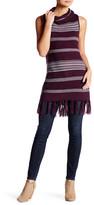 BB Dakota Mercer Striped Turtleneck Fringe Tunic