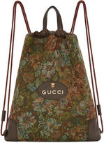 Gucci Brown Tapestry Drawstring Backpack