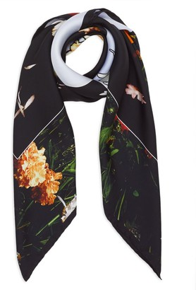 Burberry Floral-Print Silk Square Scarf