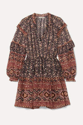 Ulla Johnson Erisa Ruffled Floral-print Silk And Lurex-blend Georgette Mini Dress - Midnight blue
