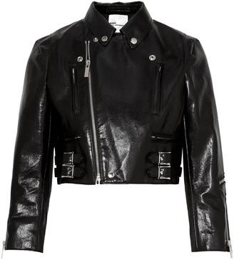 Junya Watanabe Cropped Faux Cracked-leather Biker Jacket