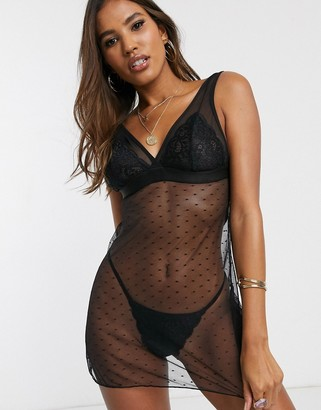 Tutti Rouge Rougette polka dot mesh chemise and thong set in black