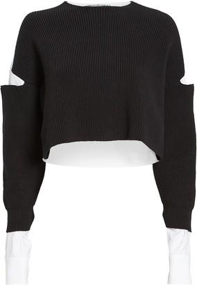 Alexander Wang Bi-Layer Oxford Rib Knit Sweater