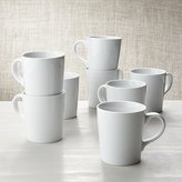 Crate & Barrel Set of 8 White Porcelain Coffee Mugs