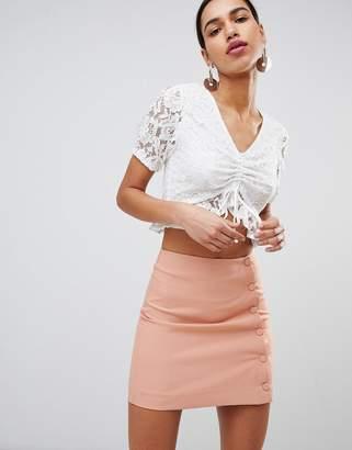 Fashion Union Tea Blouse In Lace-White