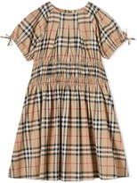 Burberry TEEN ruched panel Vintage Check dress