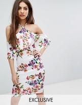 Lipsy Halterneck Printed Midi Dress in Multi Floral