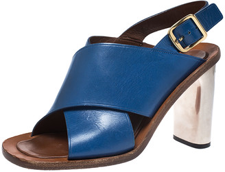 Celine Blue Leather Cross Strap Open Toe Slingback Sandals Size 39