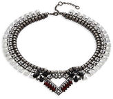 Gerard Yosca Gunmetal Crystal Pendant Layered Necklace