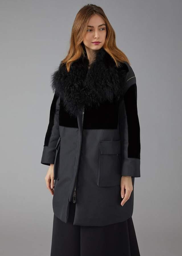 Giorgio Armani Technical Fabric Coat With Velvet Insert And Faux-Fur Collar