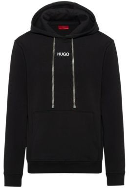 HUGO BOSS Relaxed Fit Hooded Sweatshirt With Collection Themed Photographic Print - Black