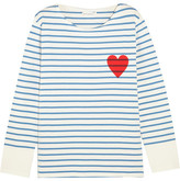 Chinti and Parker Printed Striped Cotton-jersey Top - Midnight blue