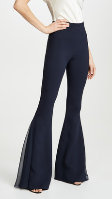 Cushnie High Waisted Flare Pants with Chiffon Pleated Insert