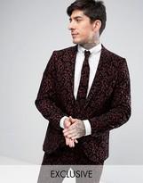 Noose & Monkey Super Skinny Suit Jacket With Floral Flocking