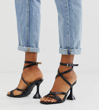 Z Code Z Z_Code_Z Exclusive Aleta black croc strappy sandals with statement heel