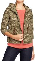 Old Navy Women's Cropped-Canvas Hooded Jackets