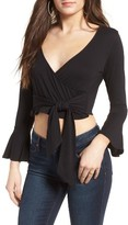 Sun & Shadow Women's Tie Front Wrap Top