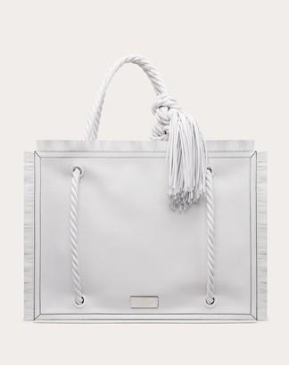 Valentino The Rope Calfskin Shopper Women Optic White Lambskin 100%, Calfskin OneSize