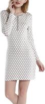 Gray & White Geometric Henley Nightgown