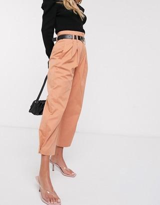 Stradivarius paperbag pant with belt in peach