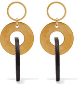 Marni Gold-tone And Leather Earrings - one size