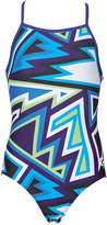 Arena Blue & Purple Geometric One-Piece - Girls