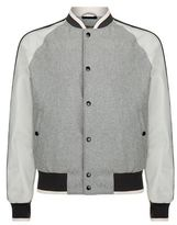 Lanvin Leather Sleeve Bomber Jacket