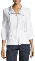 XCVI Yucca Mesh-Trim Zip Jacket, White