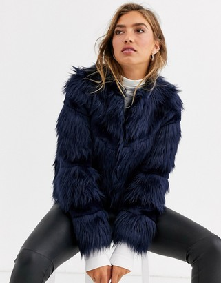 Urban Code Urbancode faux fur mix coat in navy