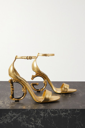 Dolce & Gabbana Embellished Leather Sandals - Gold